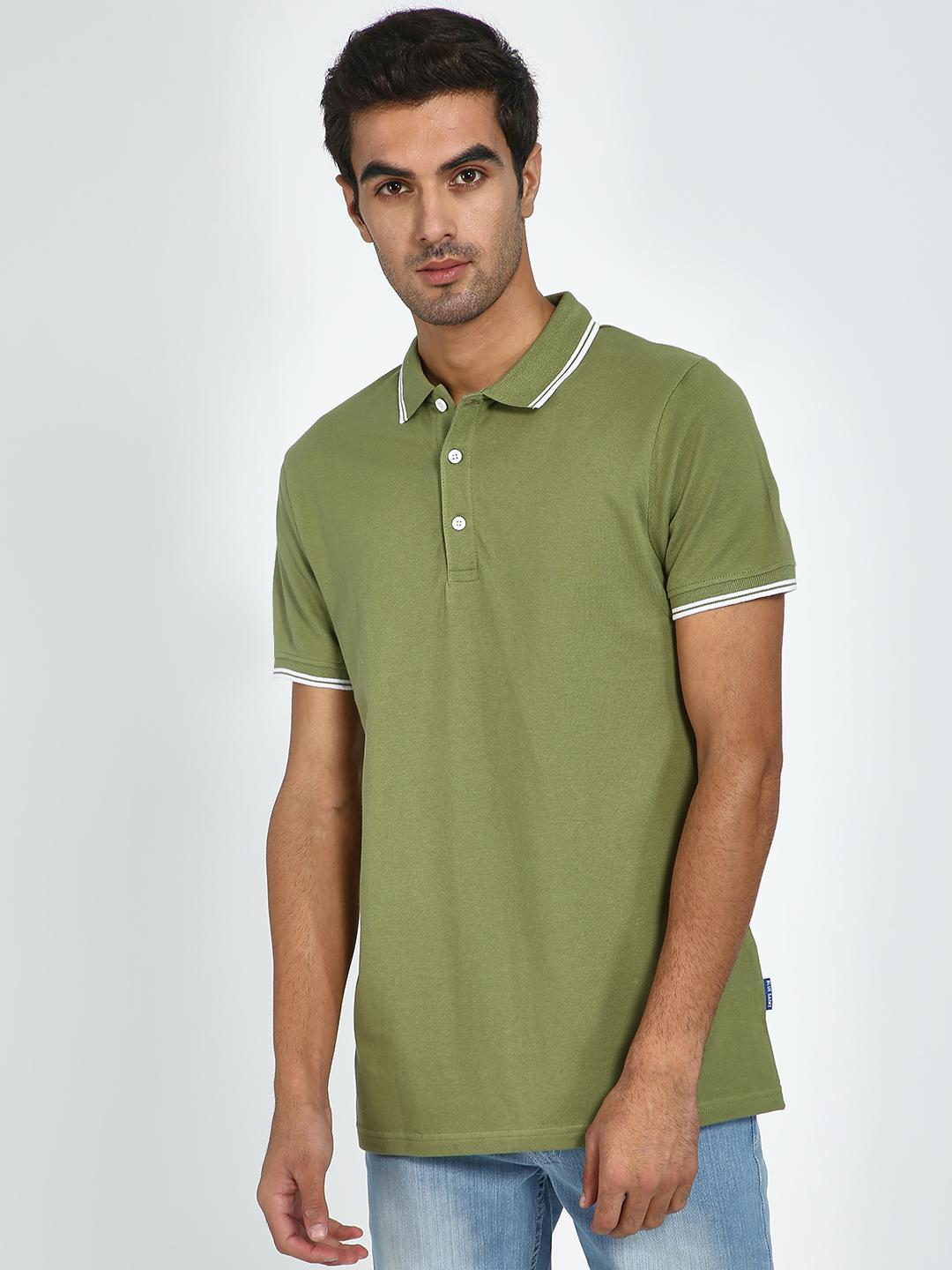 Blue Saint Olive Contrast Piping Polo Neck T-shirt 1