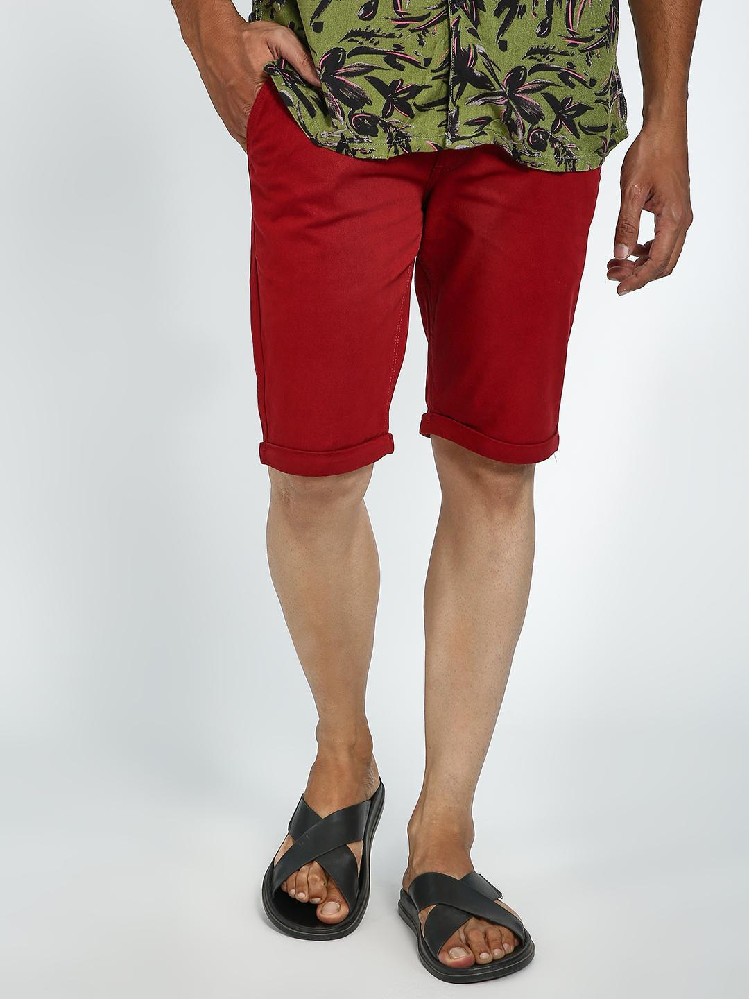 Blue Saint Maroon Roll-Up Hem Slim Shorts 1