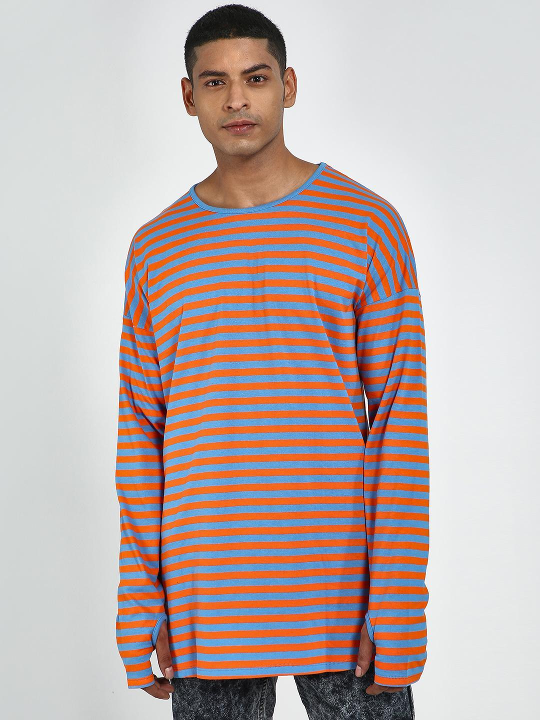 Blue Saint Multi Horizontal Stripe Thumbhole Long Sleeve T-Shirt 1