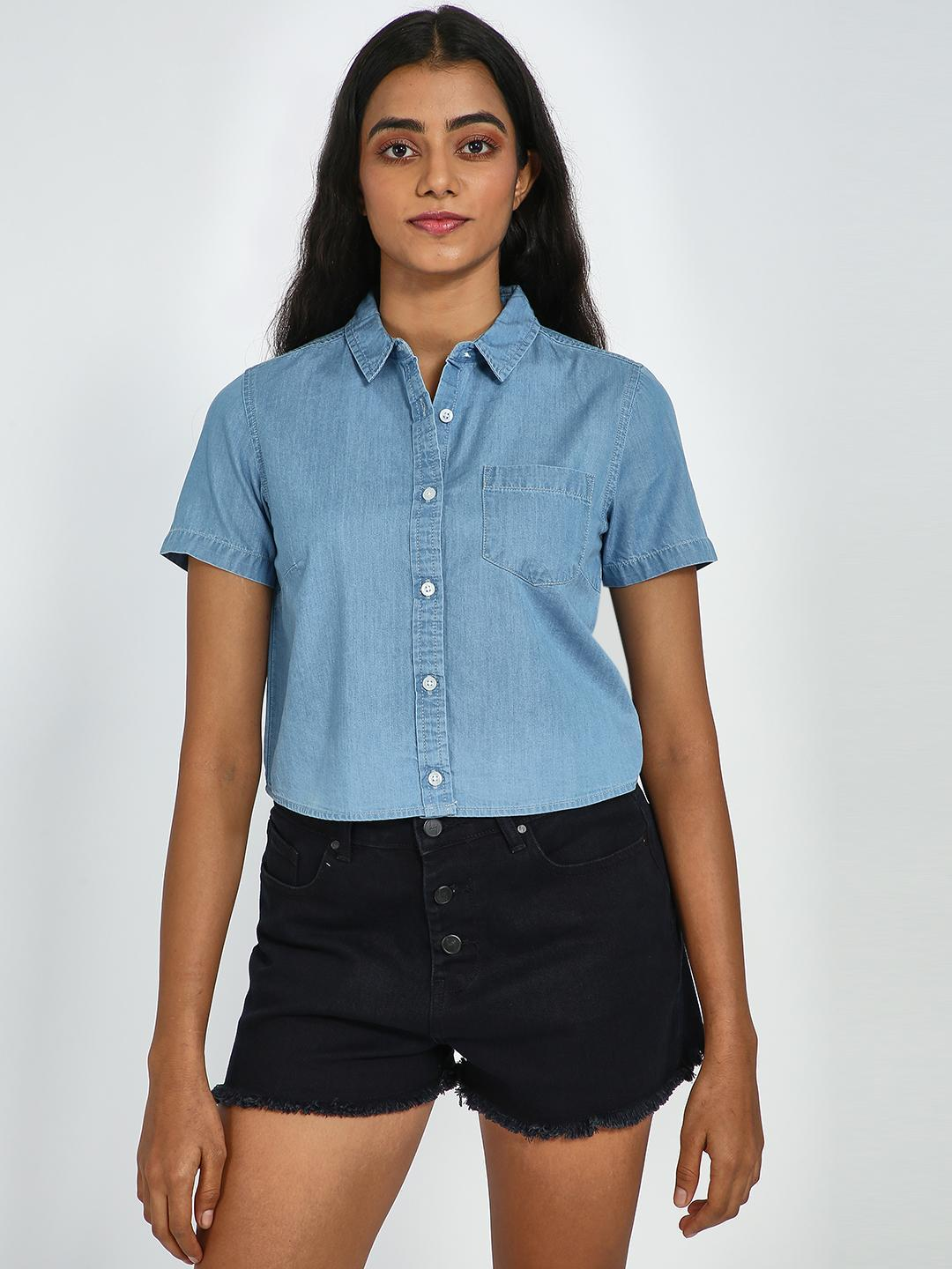 Blue Saint Light Blue Light Wash Cropped Denim Shirt 1