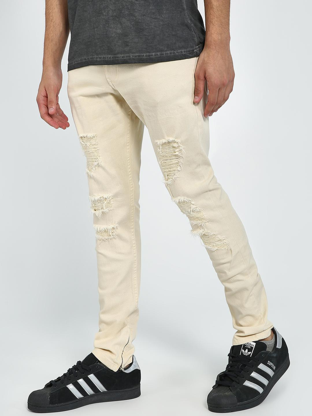 Blue Saint Beige Ripped Slim Fit Trousers 1
