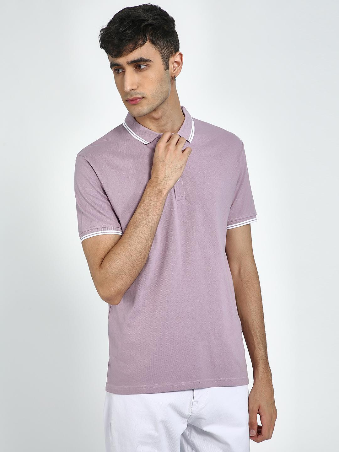 Blue Saint Purple Tipped Collar Polo Shirt 1