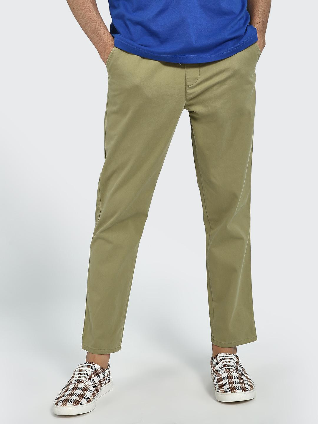 Blue Saint Khaki Drawcord Waist Slim Trousers 1