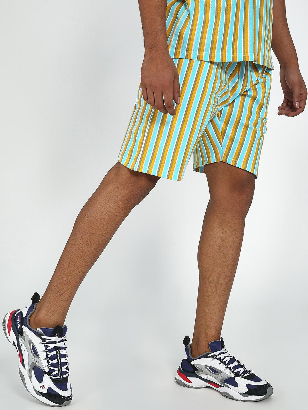 Blue Saint Multi All Over Vertical Stripe Shorts 1