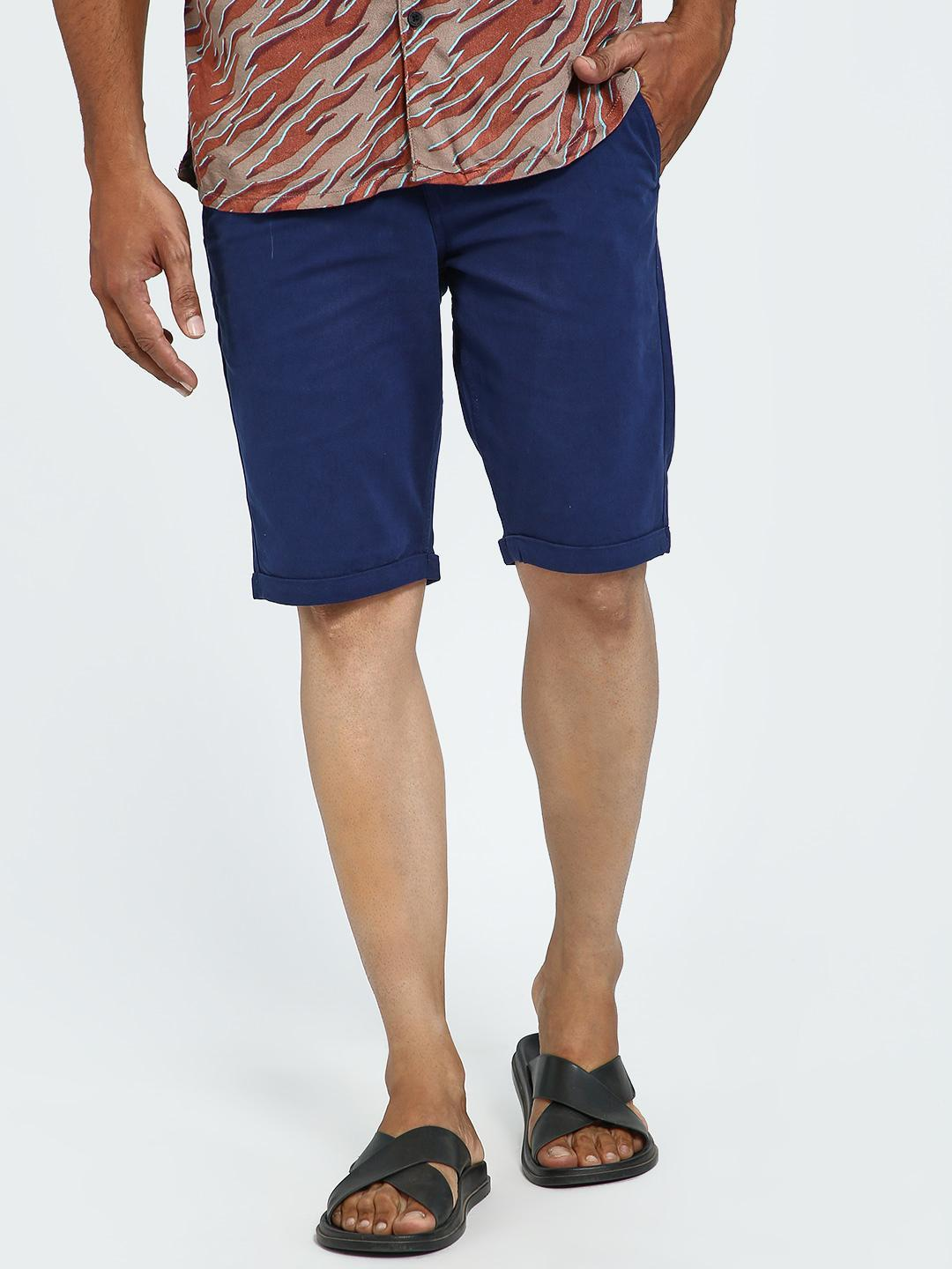 Blue Saint Navy Basic Rollover Hem Shorts 1
