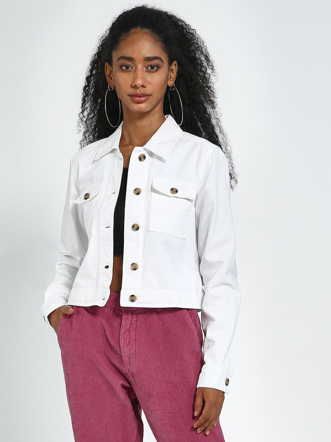 Blue Saint White White Regular Fit Crop Jacket 1