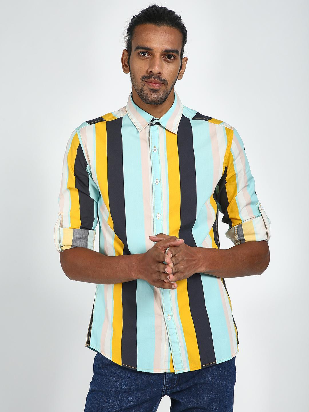 Blue Saint Multi Colour Block Panel Long Sleeve Shirt 1