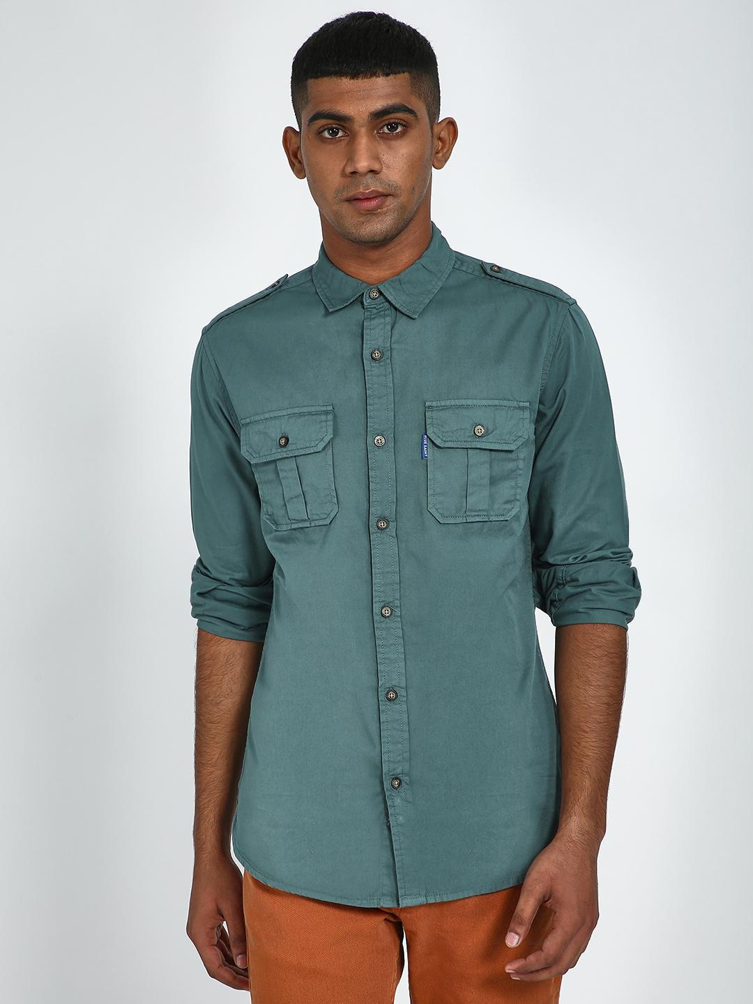 Blue Saint Green Patch Pocket Slim Shirt 1