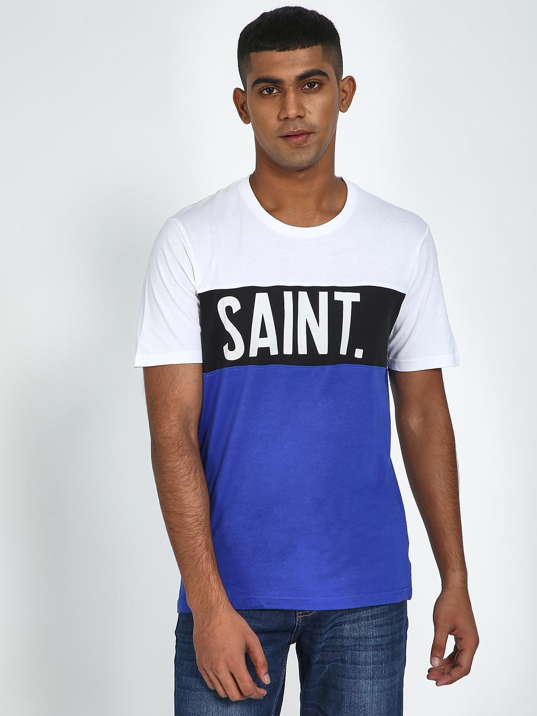 Blue Saint Blue/White Colour Block Text placement T-Shirt 1
