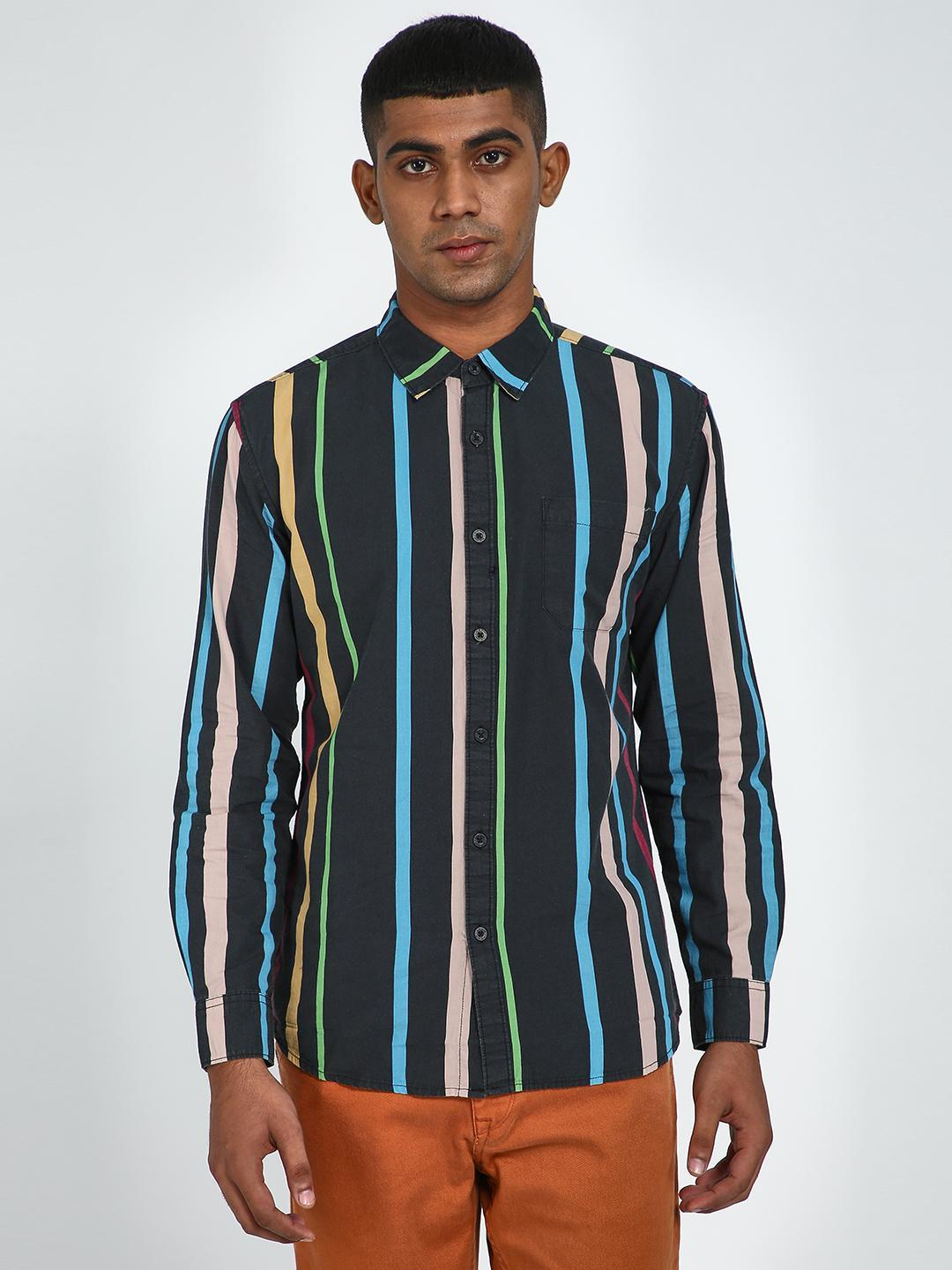 Blue Saint Multi All Over Vertical Stripe Print Shirt 1