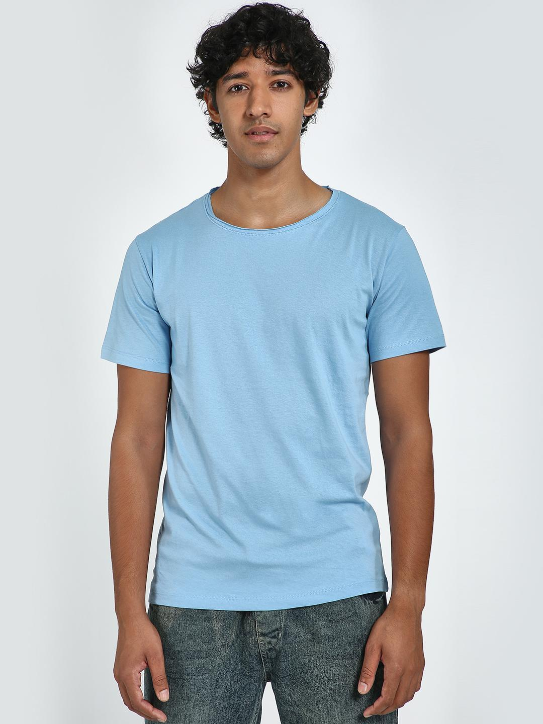 Blue Saint Blue Textured Round Neck T-Shirt 1