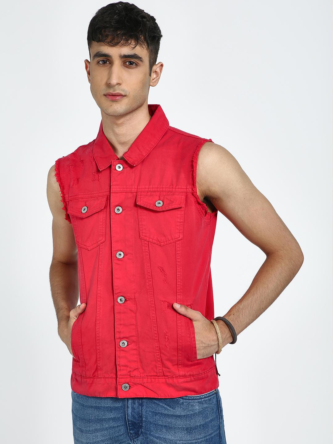 Blue Saint Red Twin Patch Pocket Sleeveless Jacket 1