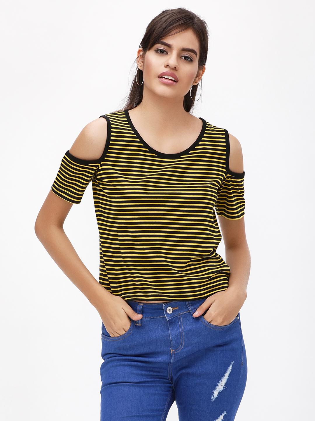 Blue Saint Yellow/Black Eacno Striped Cold Shoulder Top 1