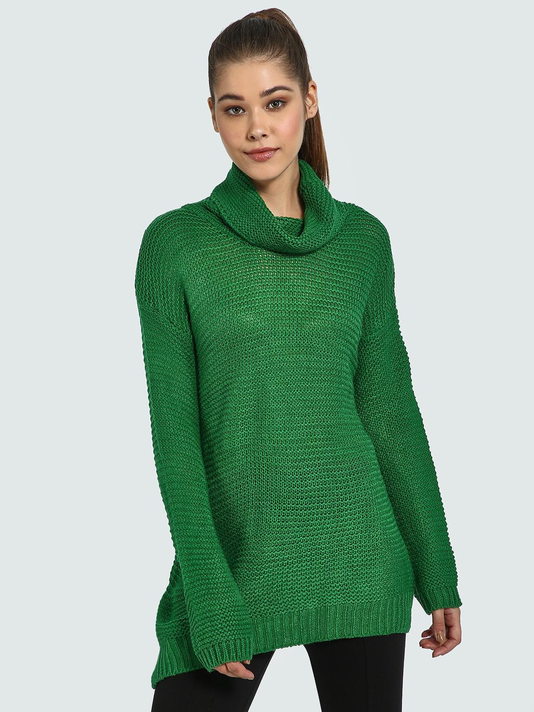Blue Saint Green Cowl Neck Knitted Longline Pullover 1