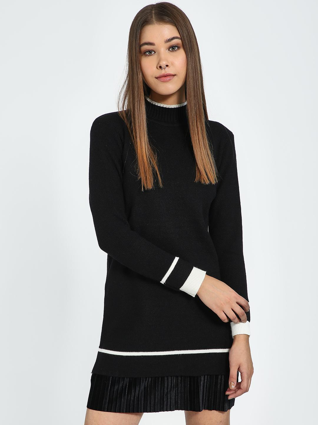 Blue Saint Black Turtle Neck Contrast Stripe Longline Pullover 1