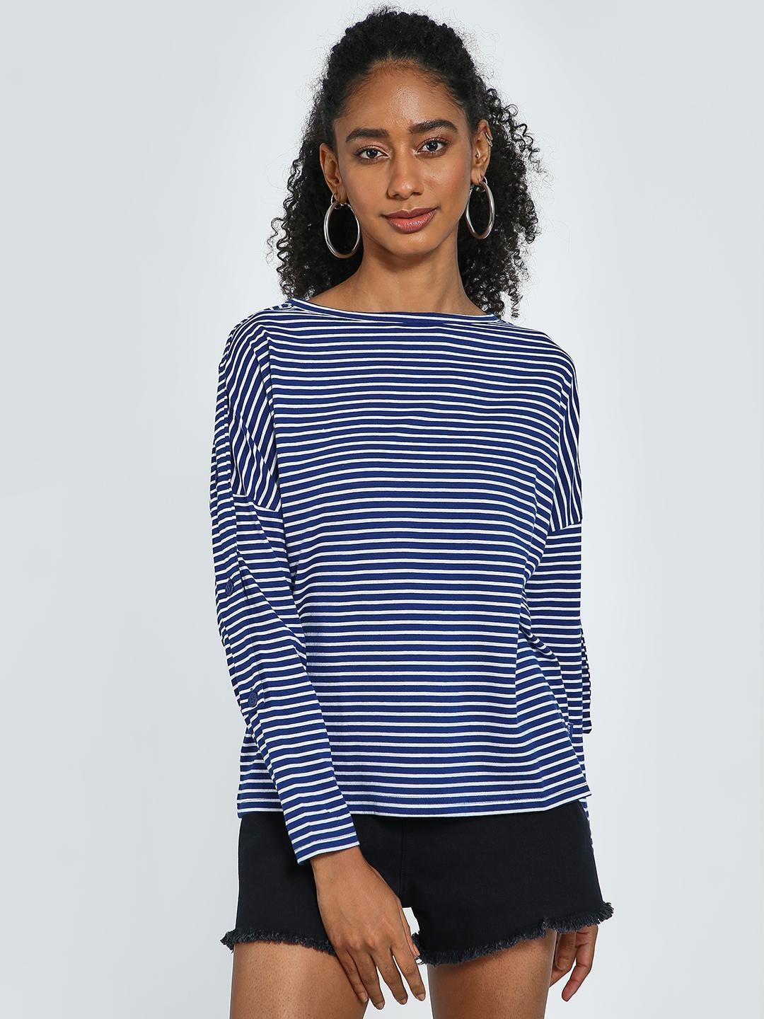 Blue Saint Navy All Over Horizontal Nautical Stripe Top 1
