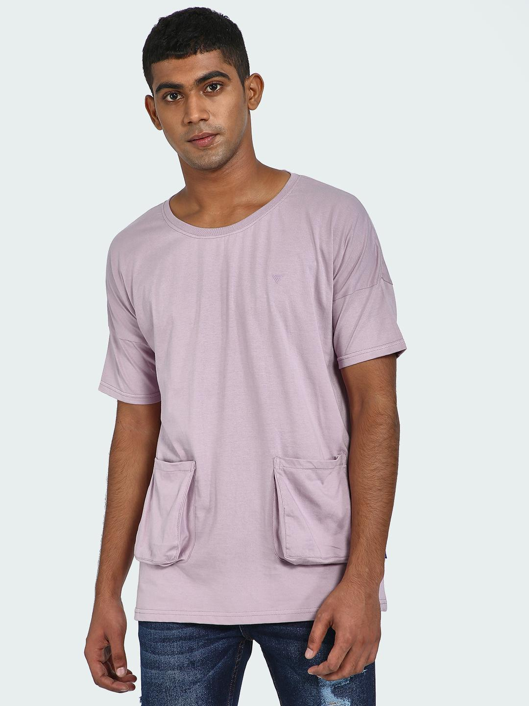 Blue Saint Mauve Longline Utility Pocket T-Shirt 1