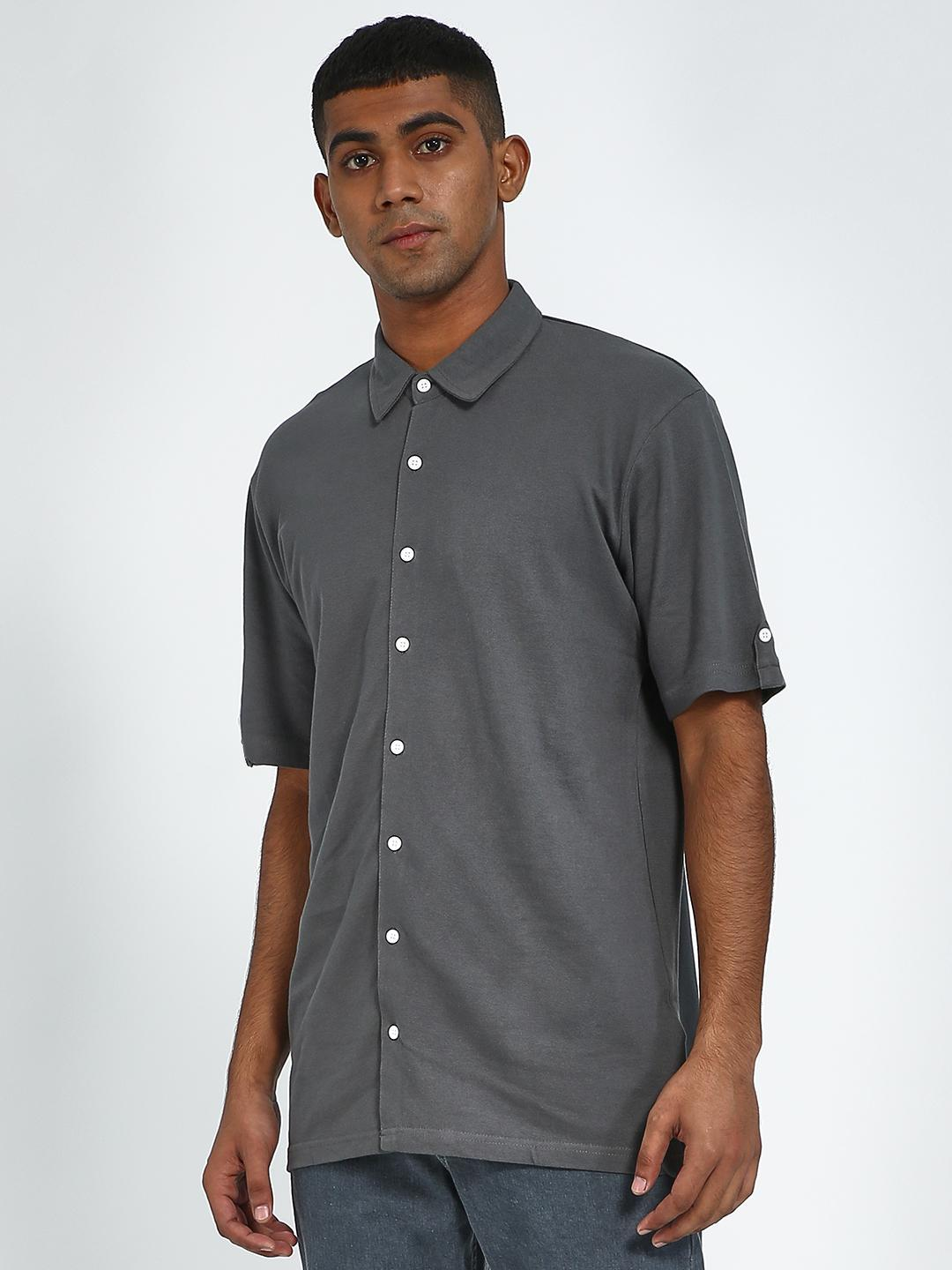Blue Saint Grey Contrast Button Casual Shirt 1