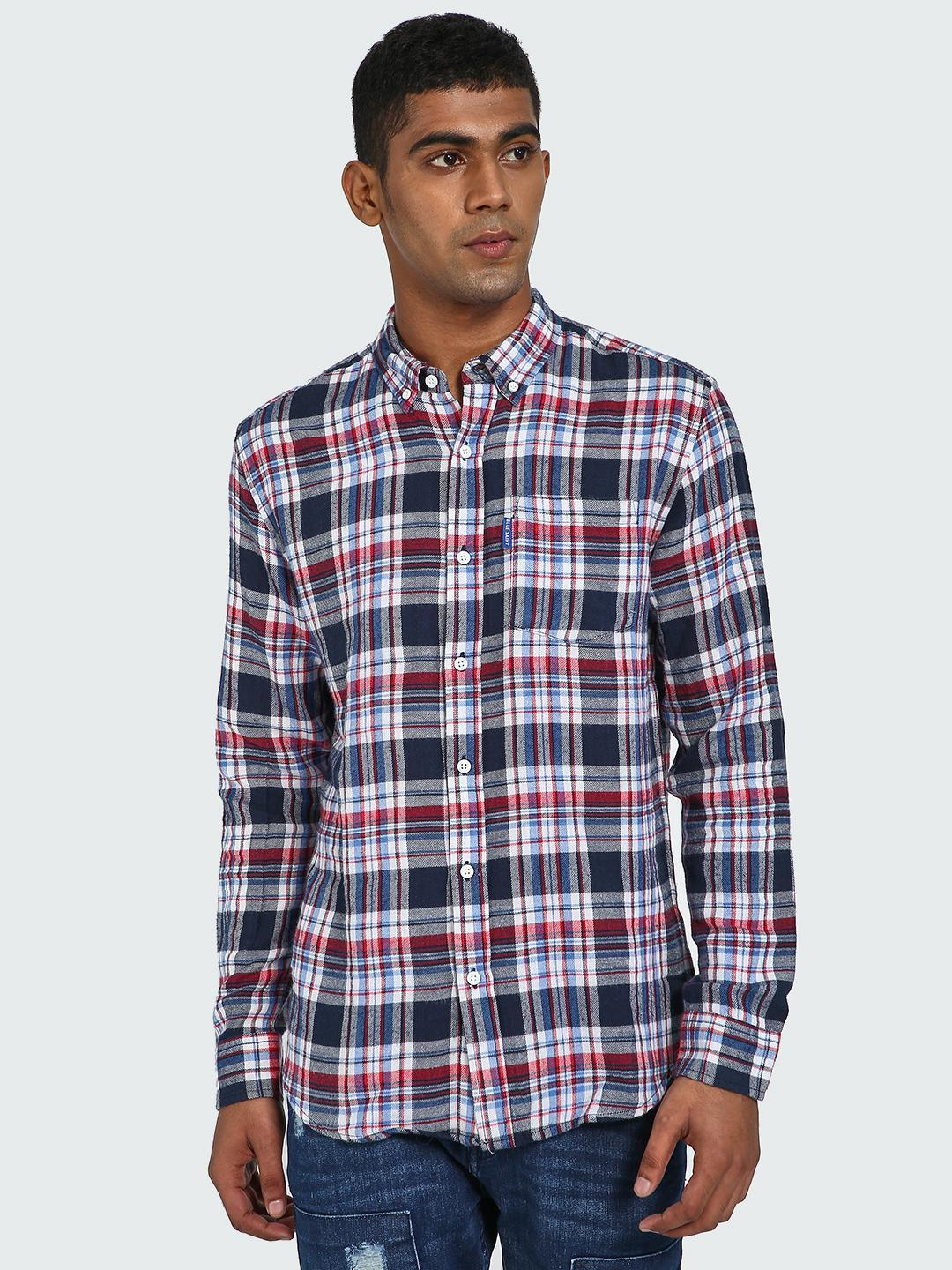 Blue Saint Multi Plaid Check Print Long Sleeve Shirt 1