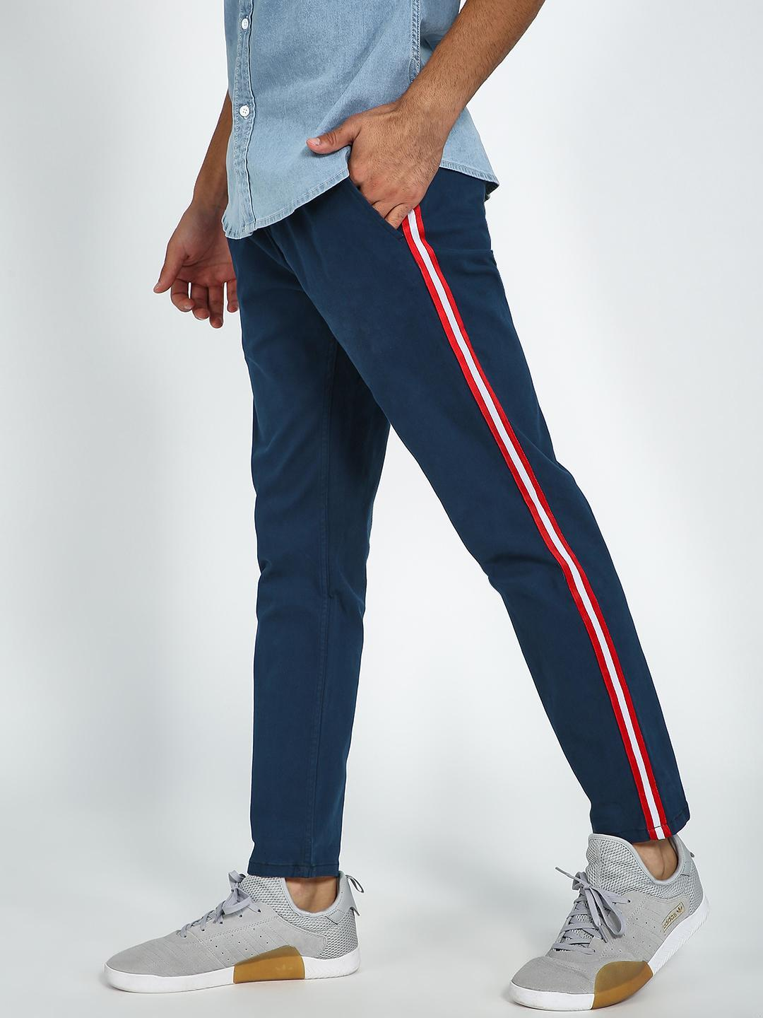 Blue Saint Navy Contrast Side Tape Drawcord Trouser 1