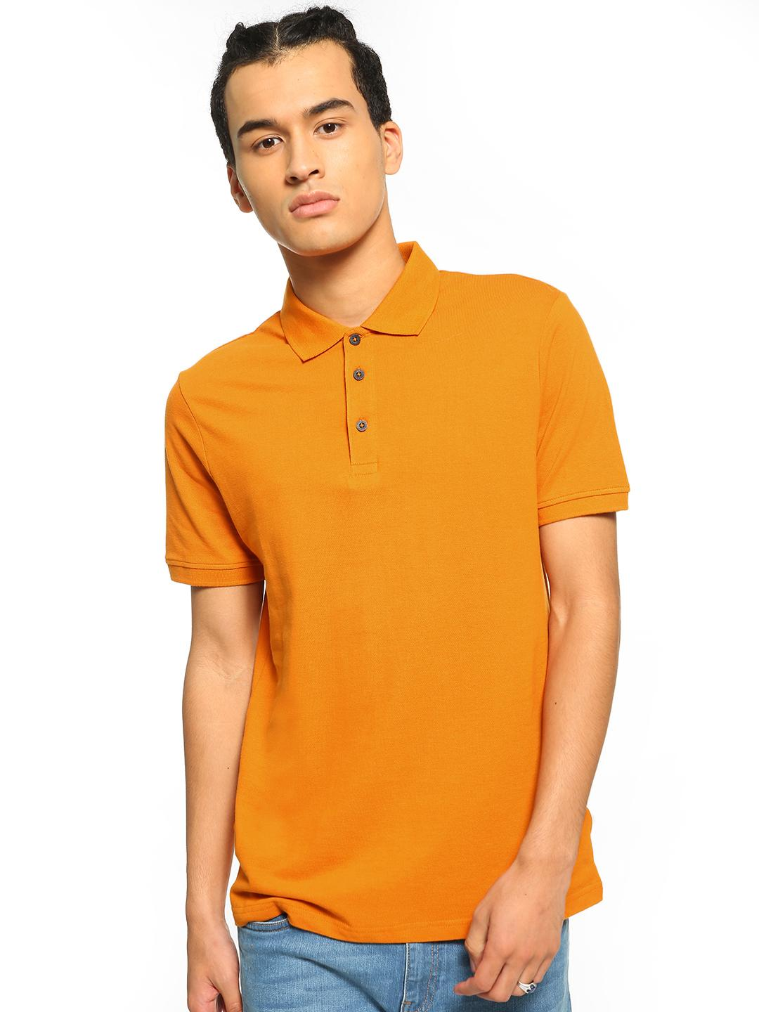 Blue Saint Orange Basic Short Sleeve Polo Shirt 1