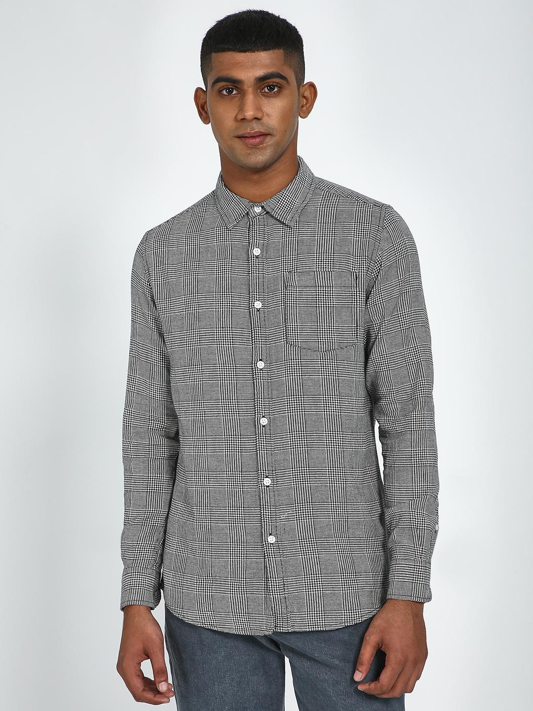 Blue Saint Grey Checkered Slim Shirt 1