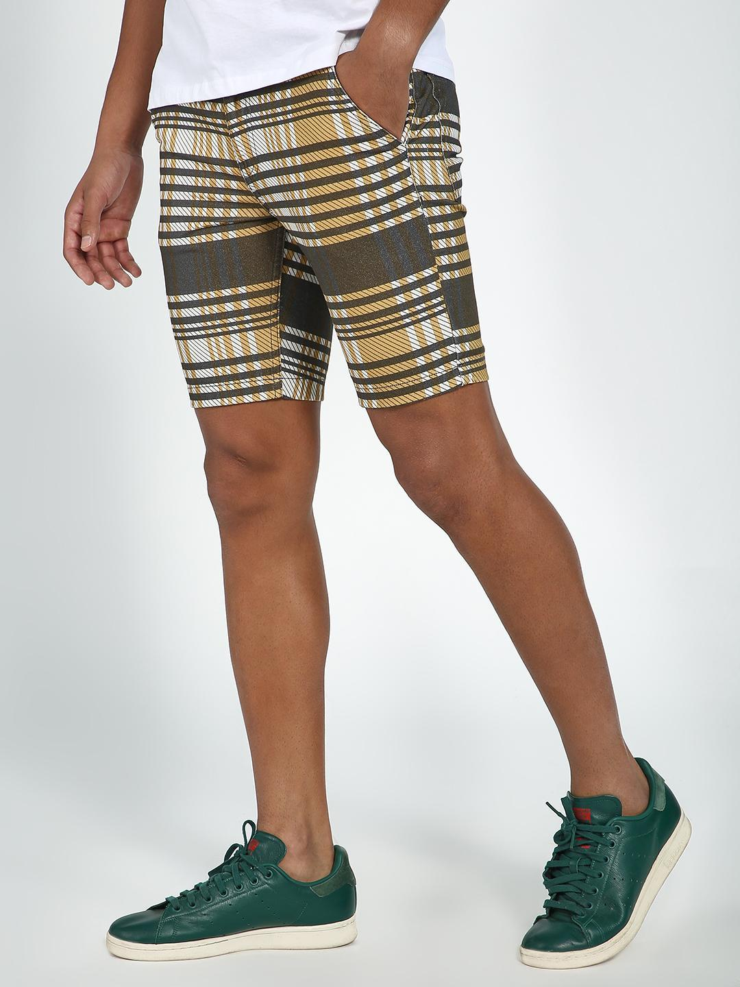 Blue Saint Brown Check Print Regular Fit Shorts 1