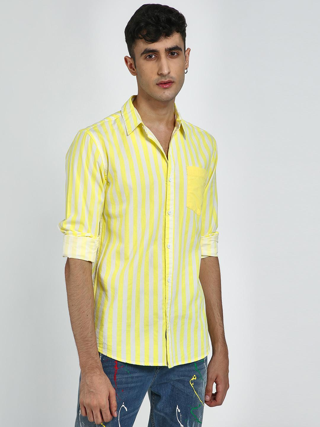 Blue Saint Yellow All Over Vertical Print Patch Pocket Shirt 1