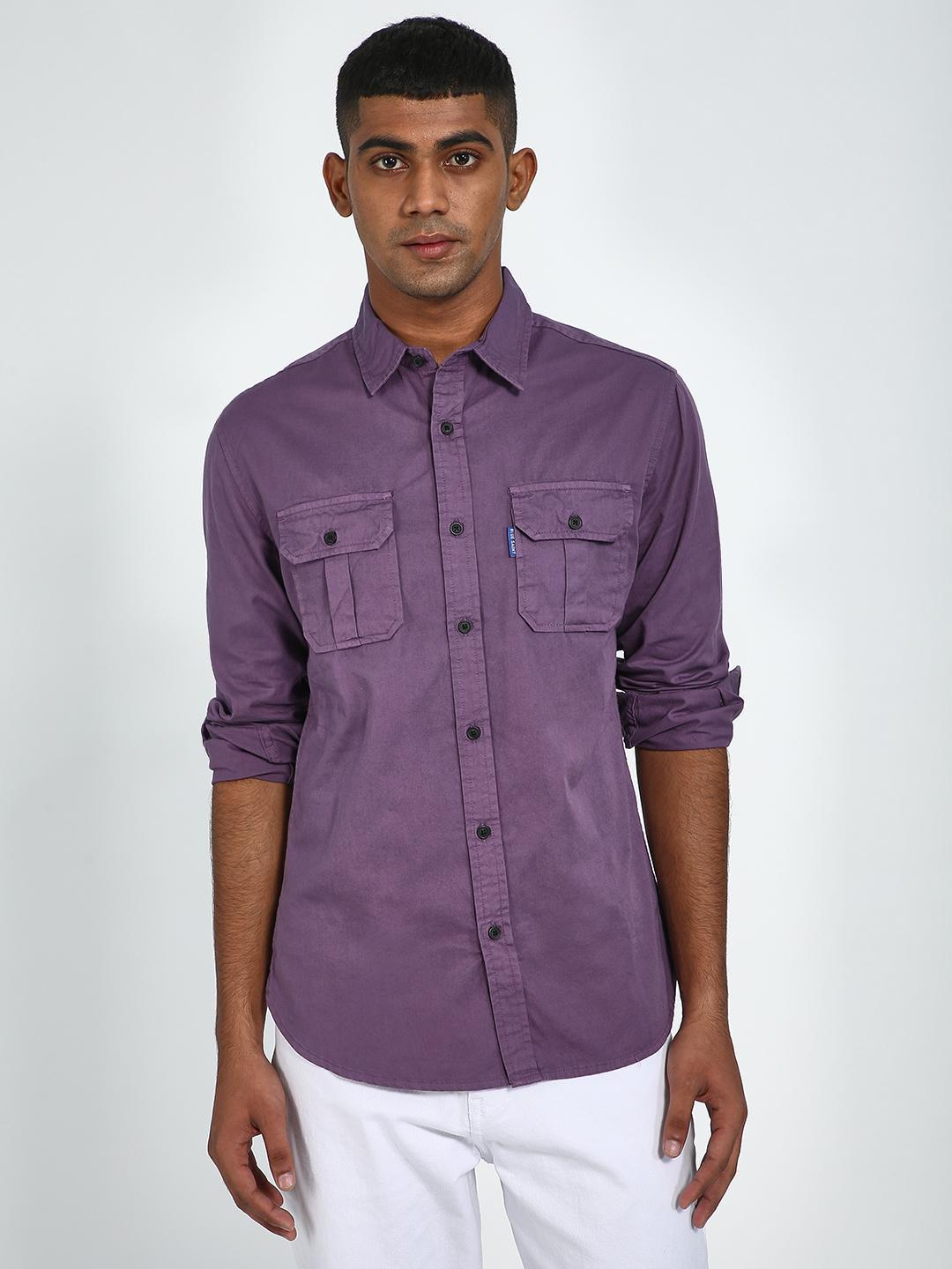 Blue Saint Purple Men's Purple Twin Pocket Slim Fit Shirt 1