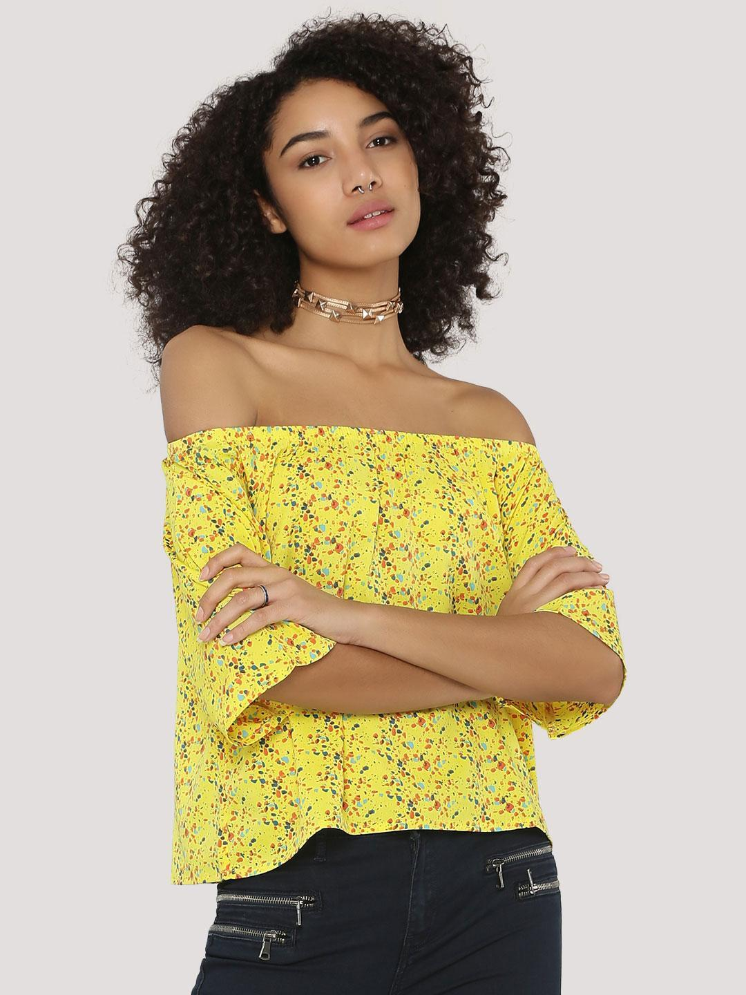 Blue Saint Yellow Off Shoulder Top With All Over Print 1