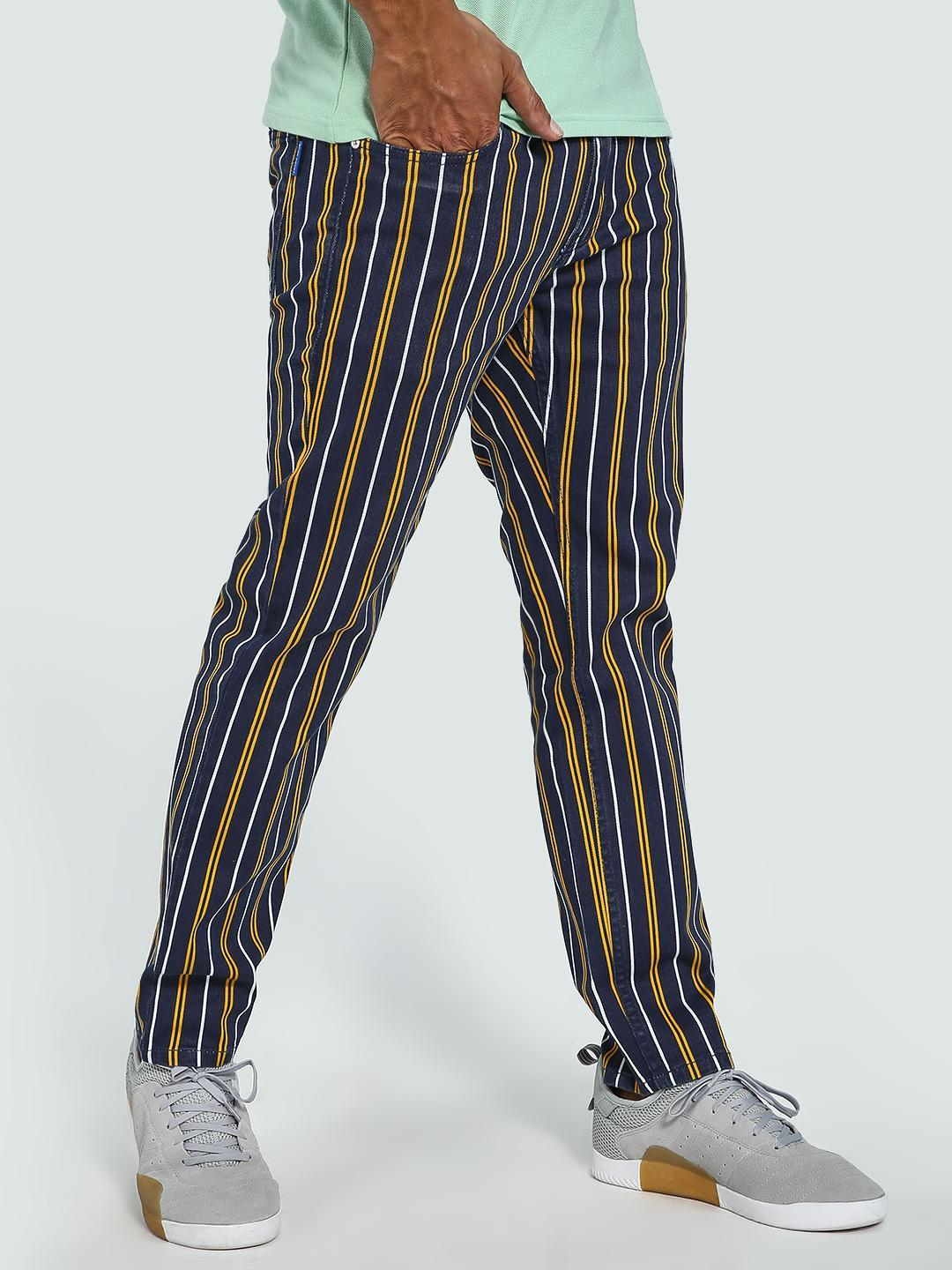 Blue Saint NAVY/YELLOW Contrast Vertical Stripe Trousers 1