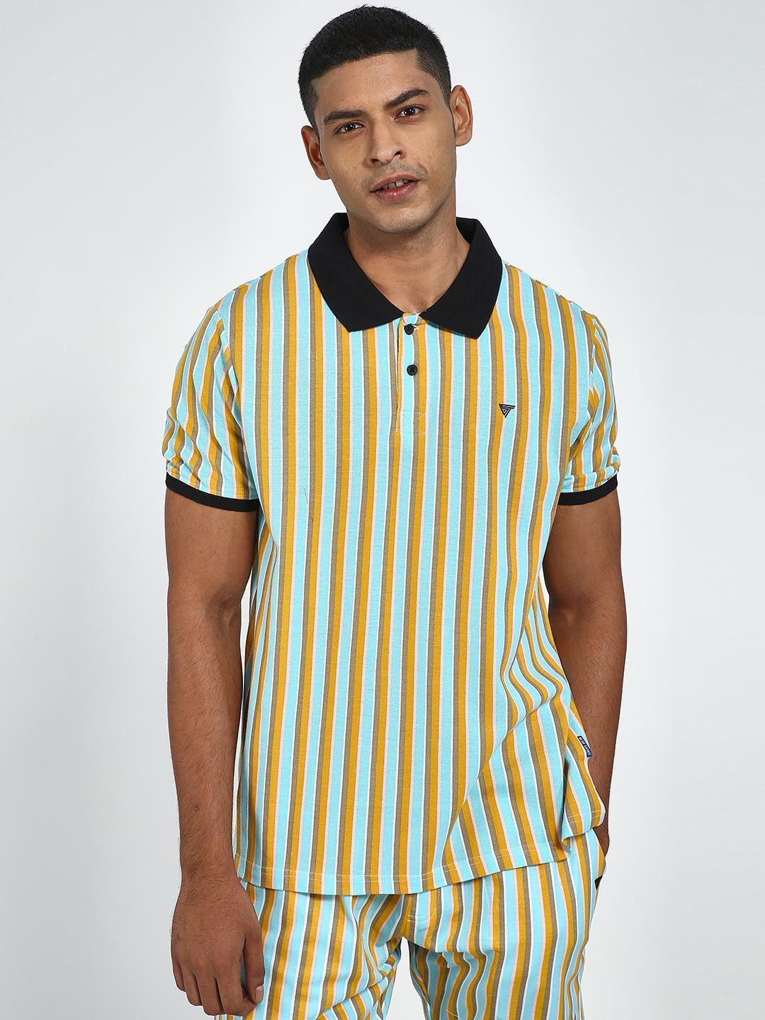Blue Saint Multi Vertical Stripe Polo Shirt 1