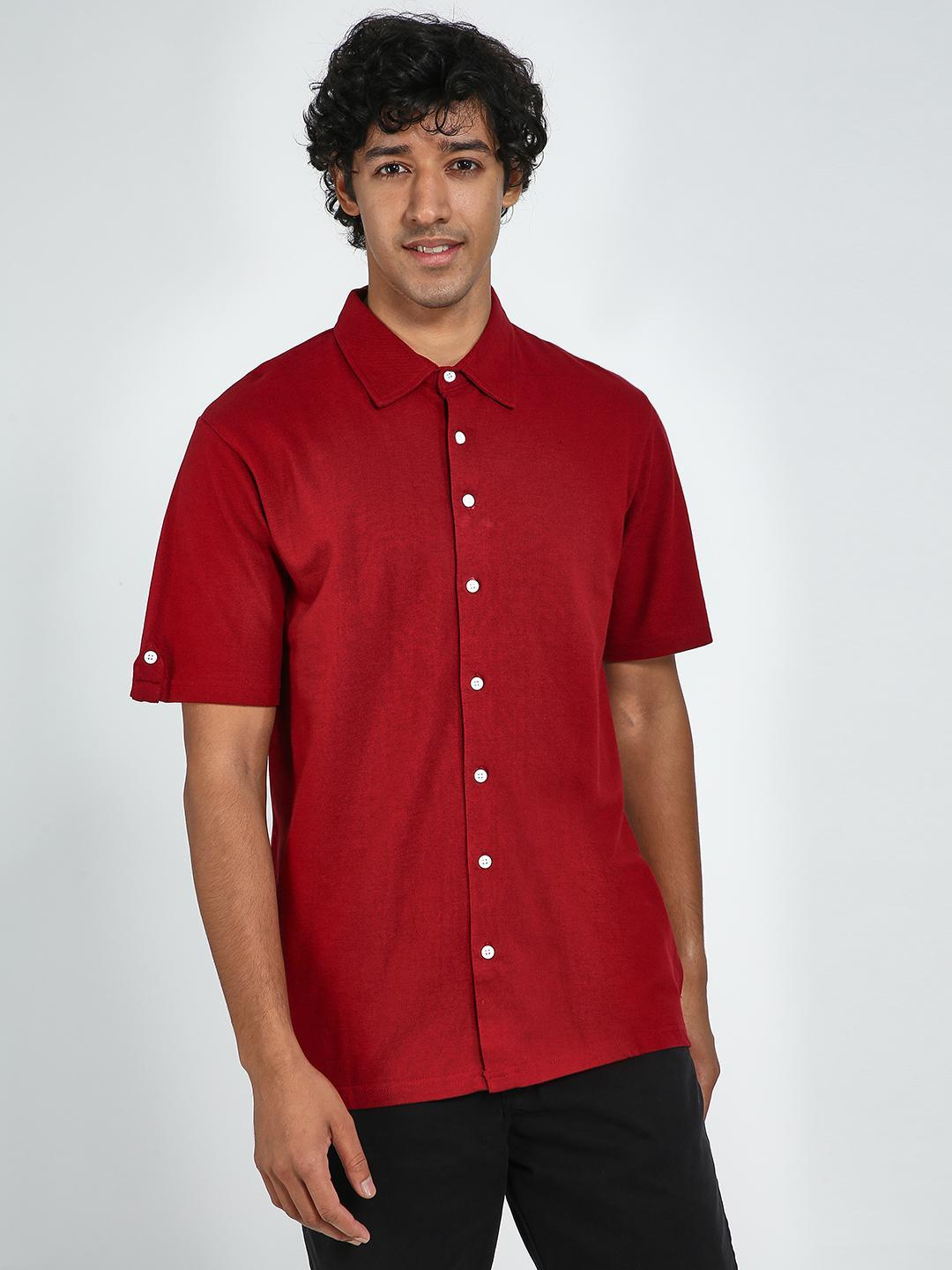 Blue Saint Maroon Slim Fit Casual Shirt 1
