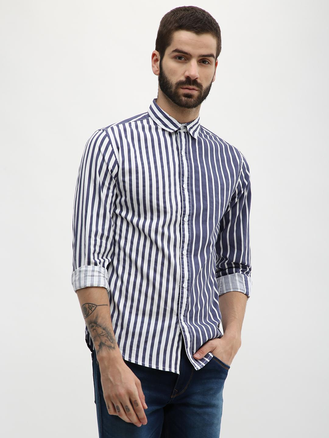 Blue Saint Blue Striped Slim Fit Shirt 1