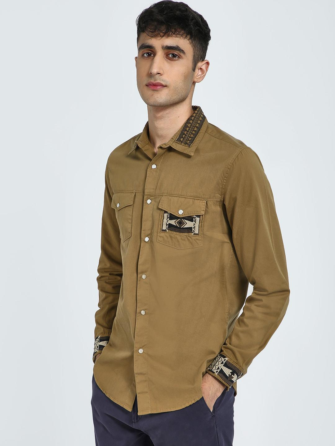 Blue Saint Brown Embroidered Patch Pocket Shirt 1