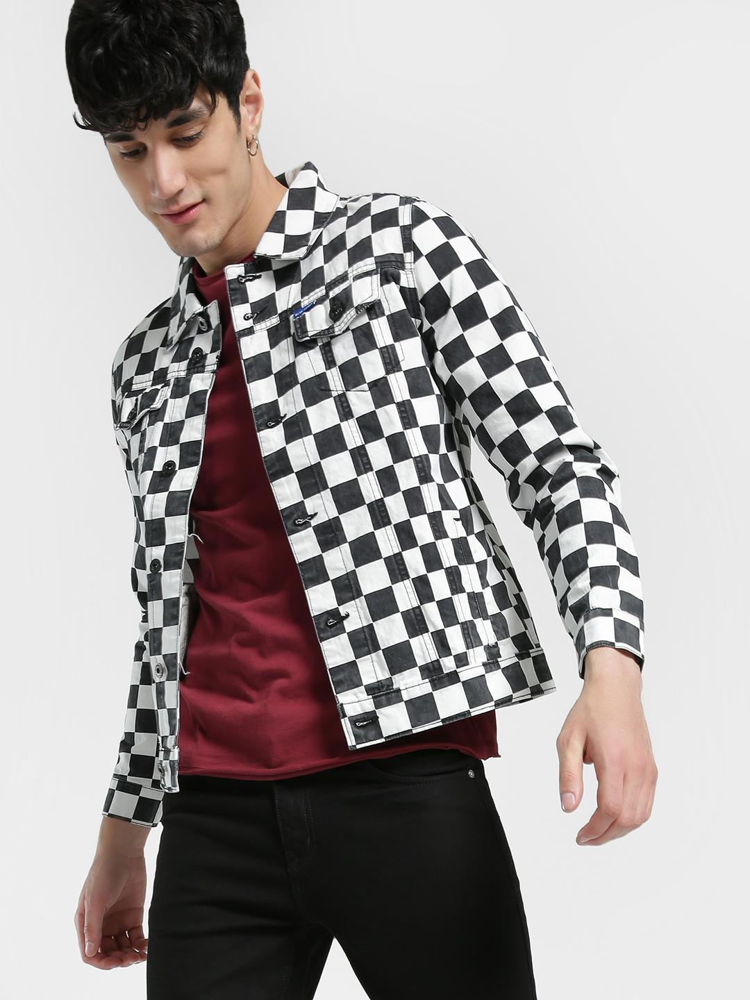 Blue Saint Black/White Checkerboard Print Denim Jacket 1