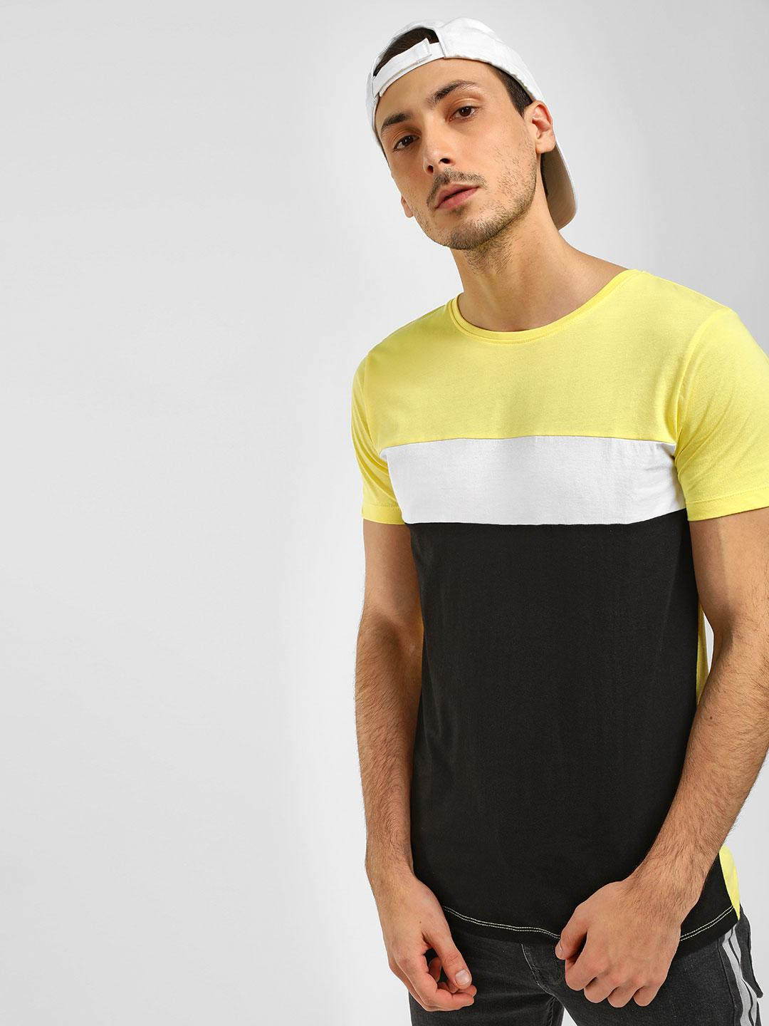 Blue Saint Yellow Colour Block T-Shirt 1