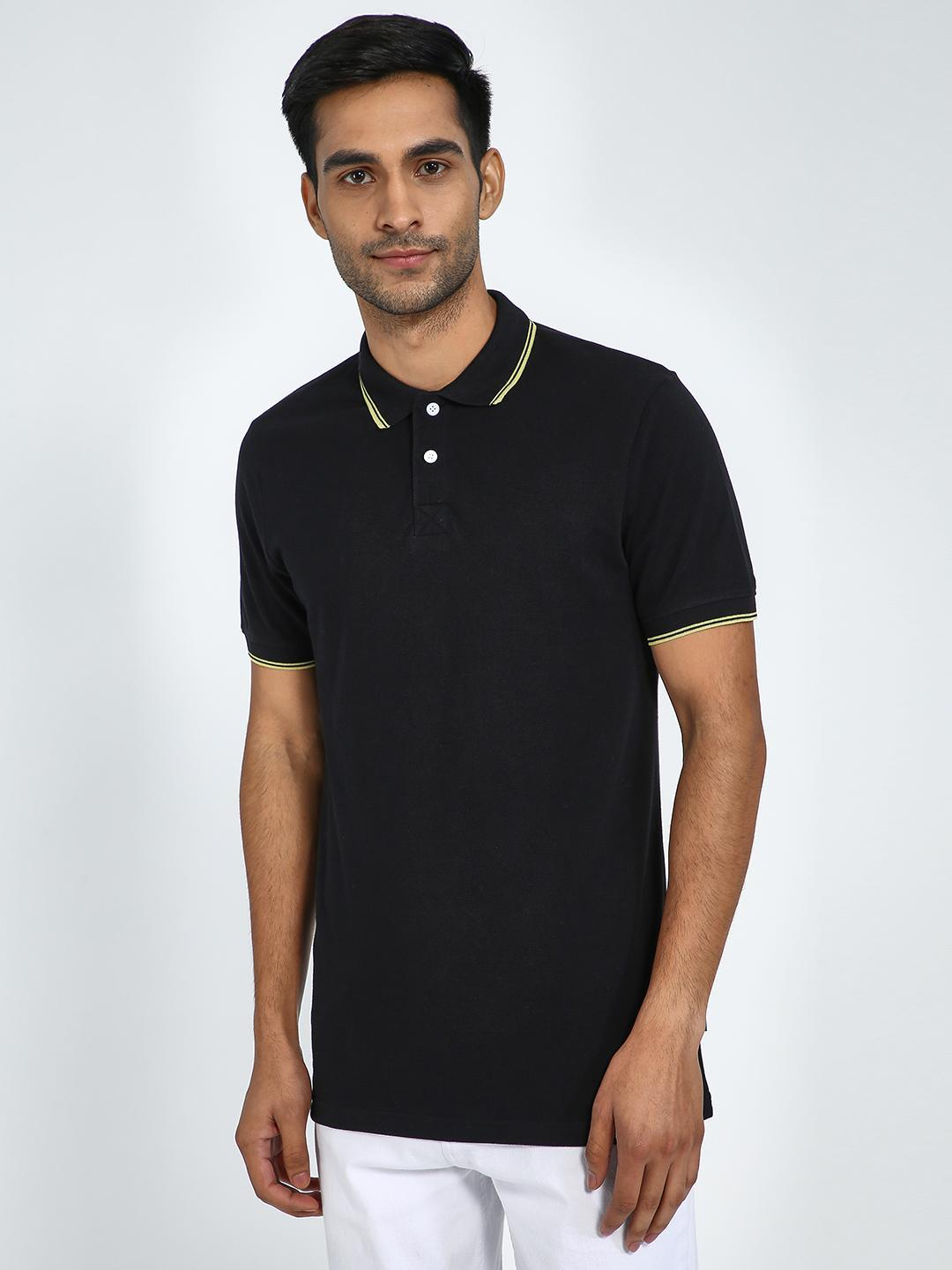 Blue Saint Black Tipped Collar Pique Polo Shirt 1