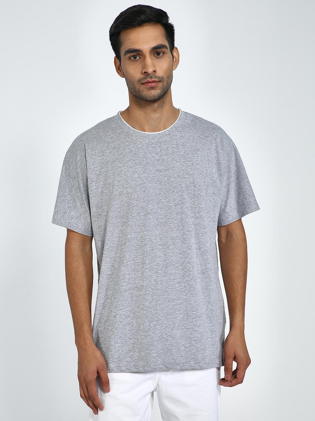 Blue Saint Grey Textured Crew Neck T-Shirt 1