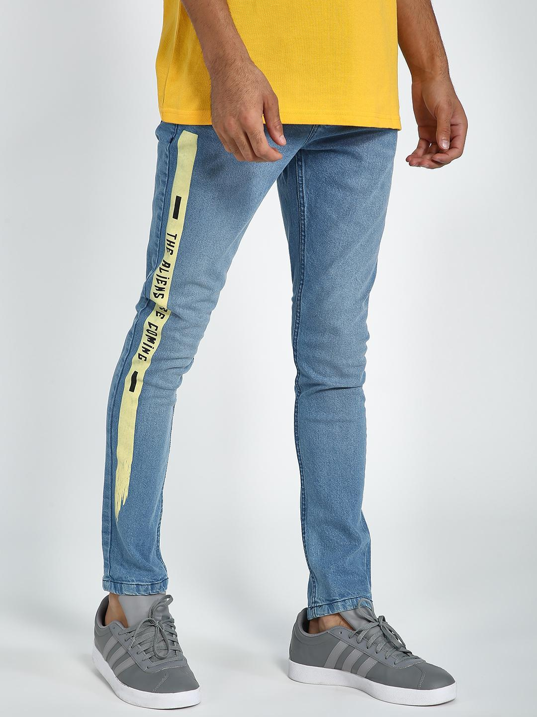 Blue Saint Blue Text Printed Skinny Jeans 1