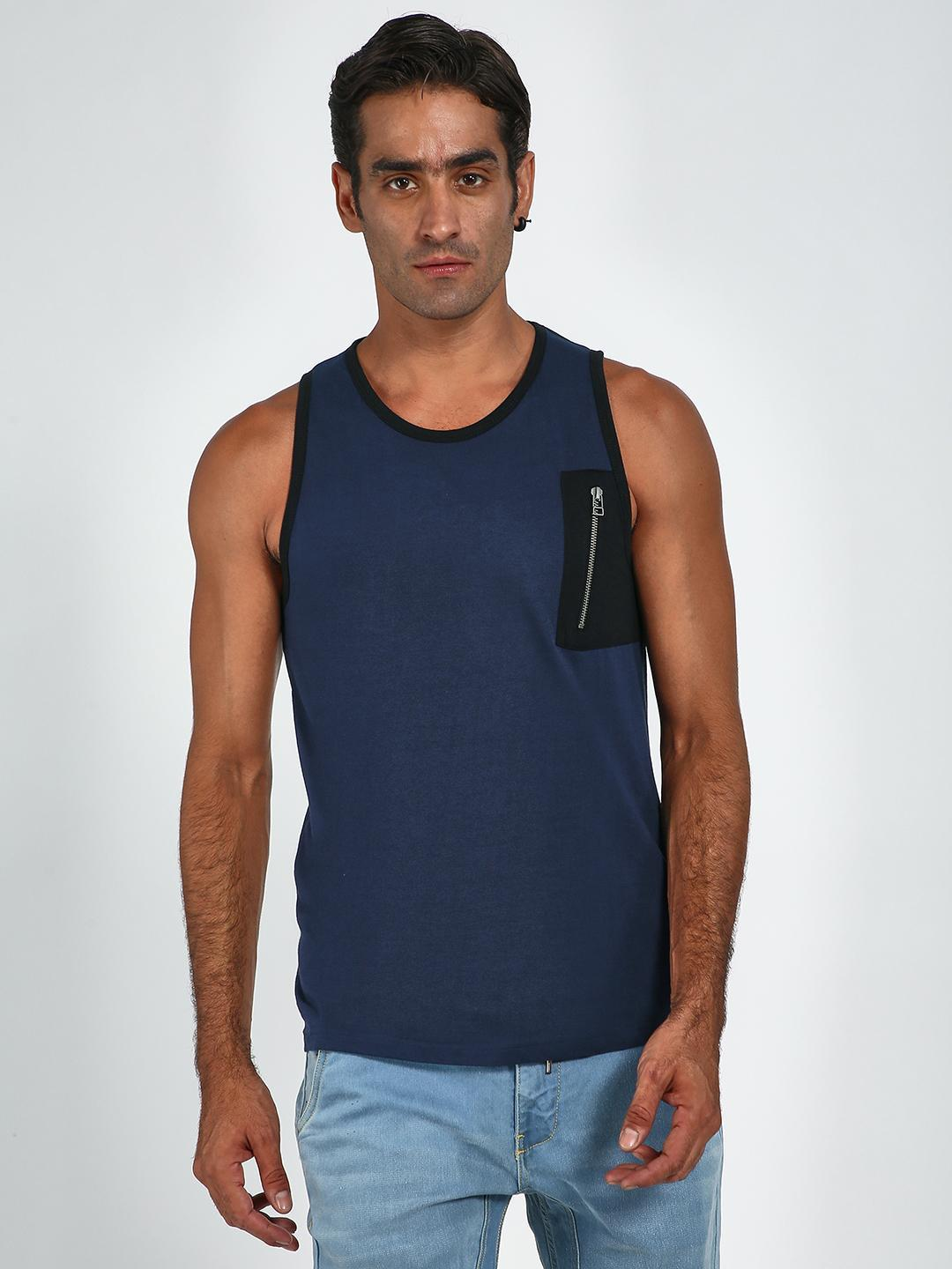 Blue Saint Navy Zipper Pocket Sleeveless Vest 1