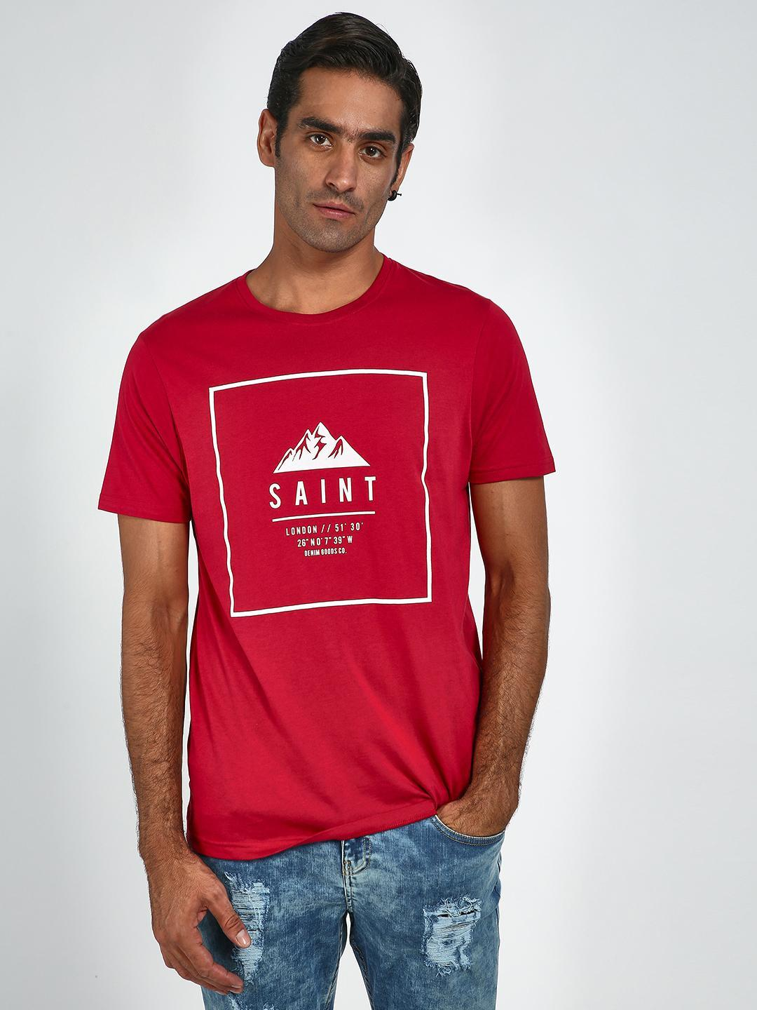Blue Saint Red Graphic Print Slim T-Shirt 1
