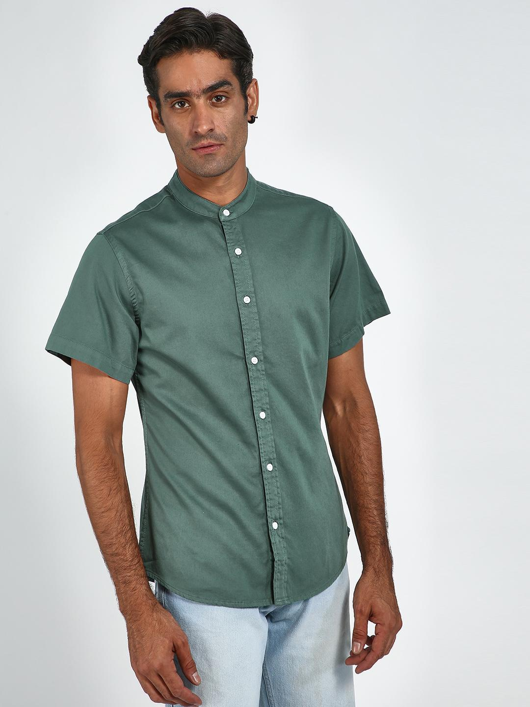 Blue Saint Green Mandarin Collar Short Sleeve Shirt 1