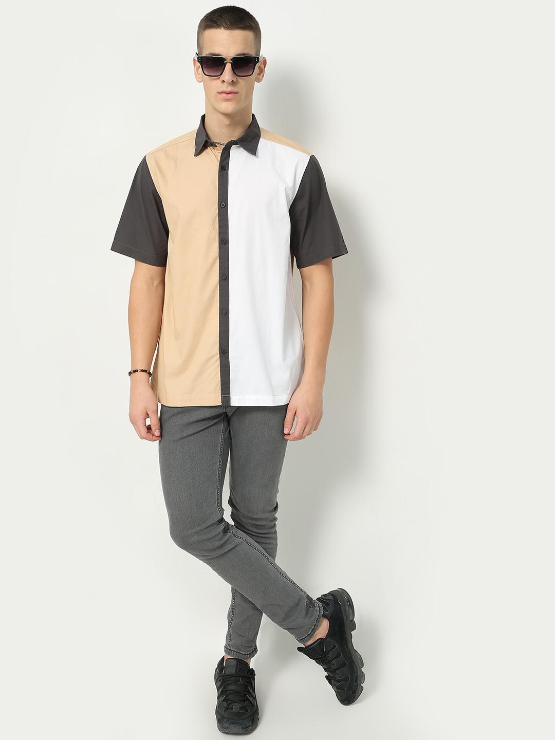 Blue Saint Brown/White Colour Block Casual Shirt 1