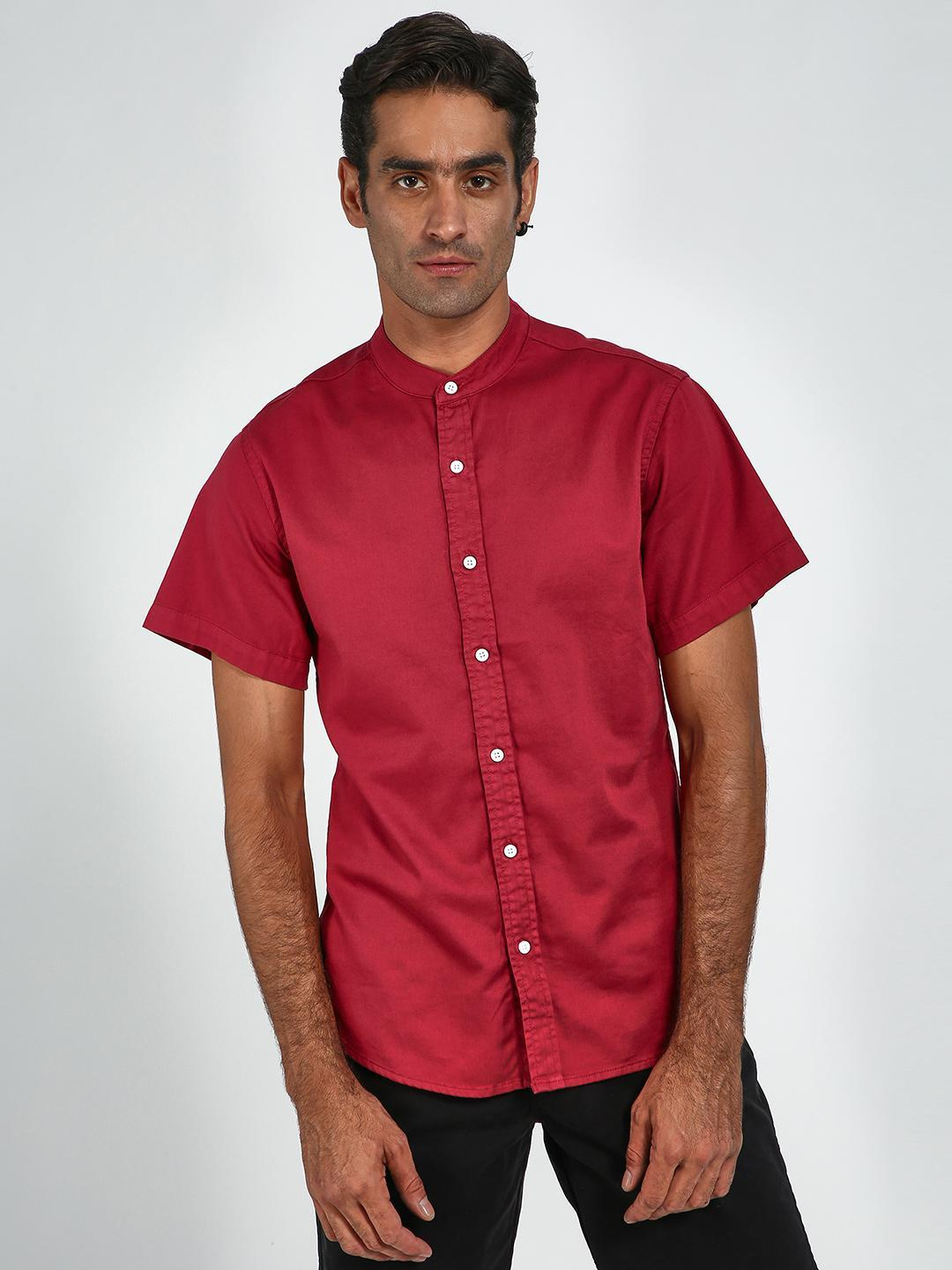 Blue Saint Red Mandarin Collar Short Sleeve Shirt 1