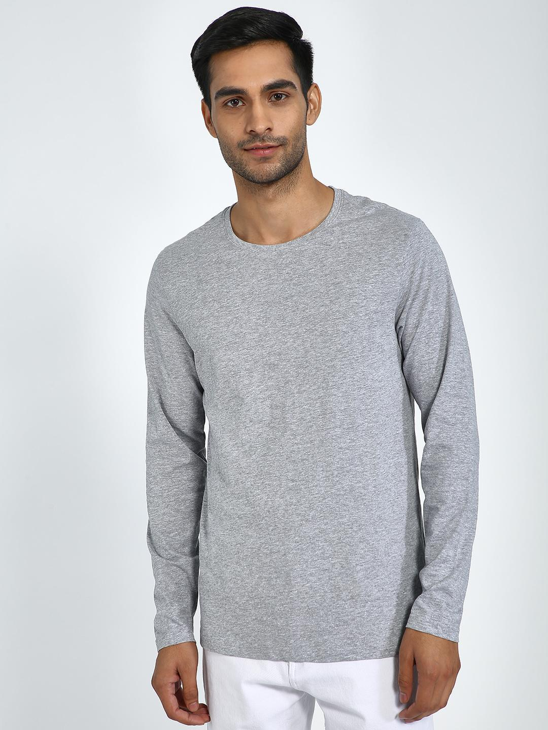 Blue Saint Grey Textured Crew Neck Long Sleeve T-Shirt 1