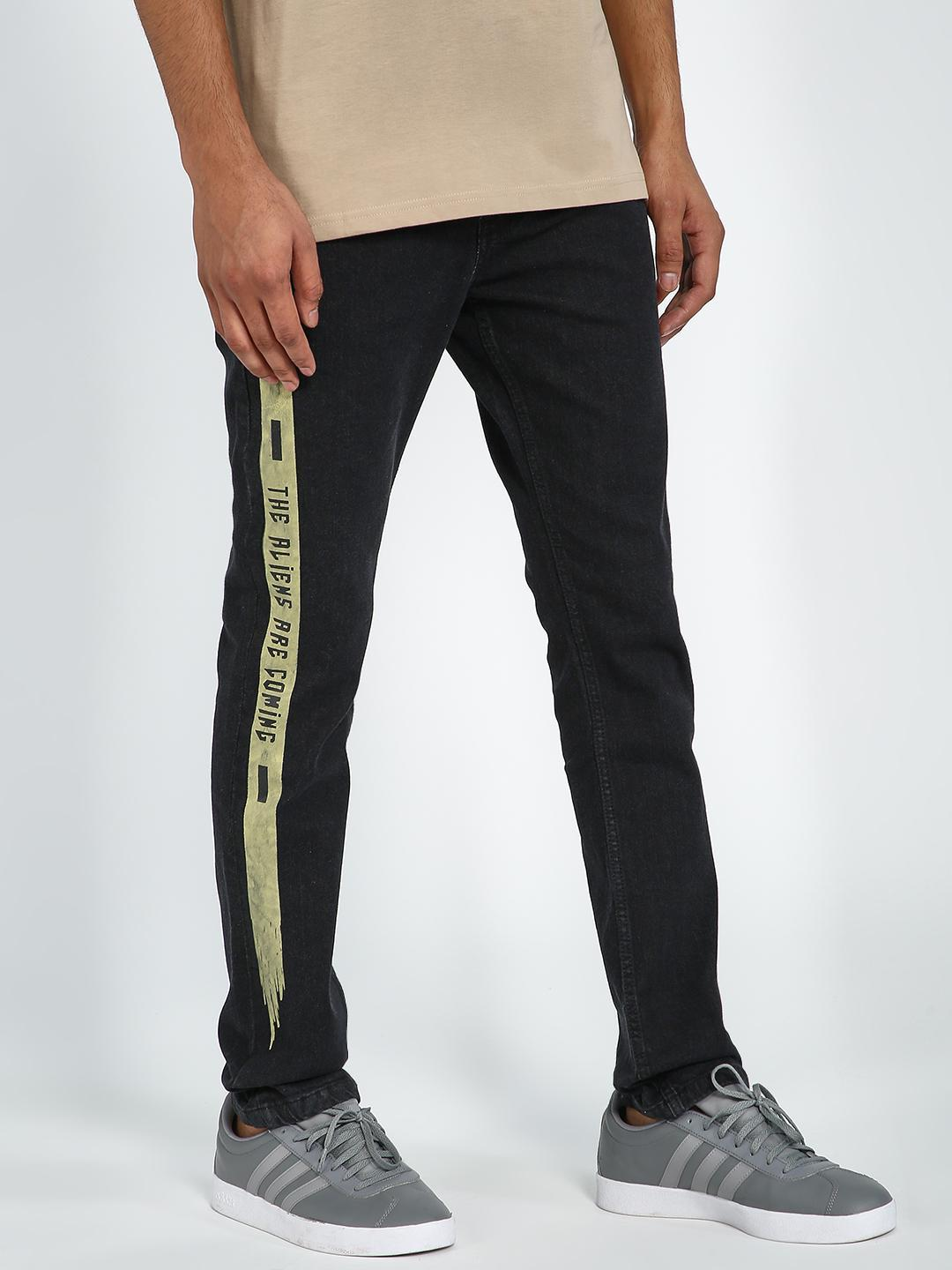Blue Saint Black Text Printed Slim Jeans 1