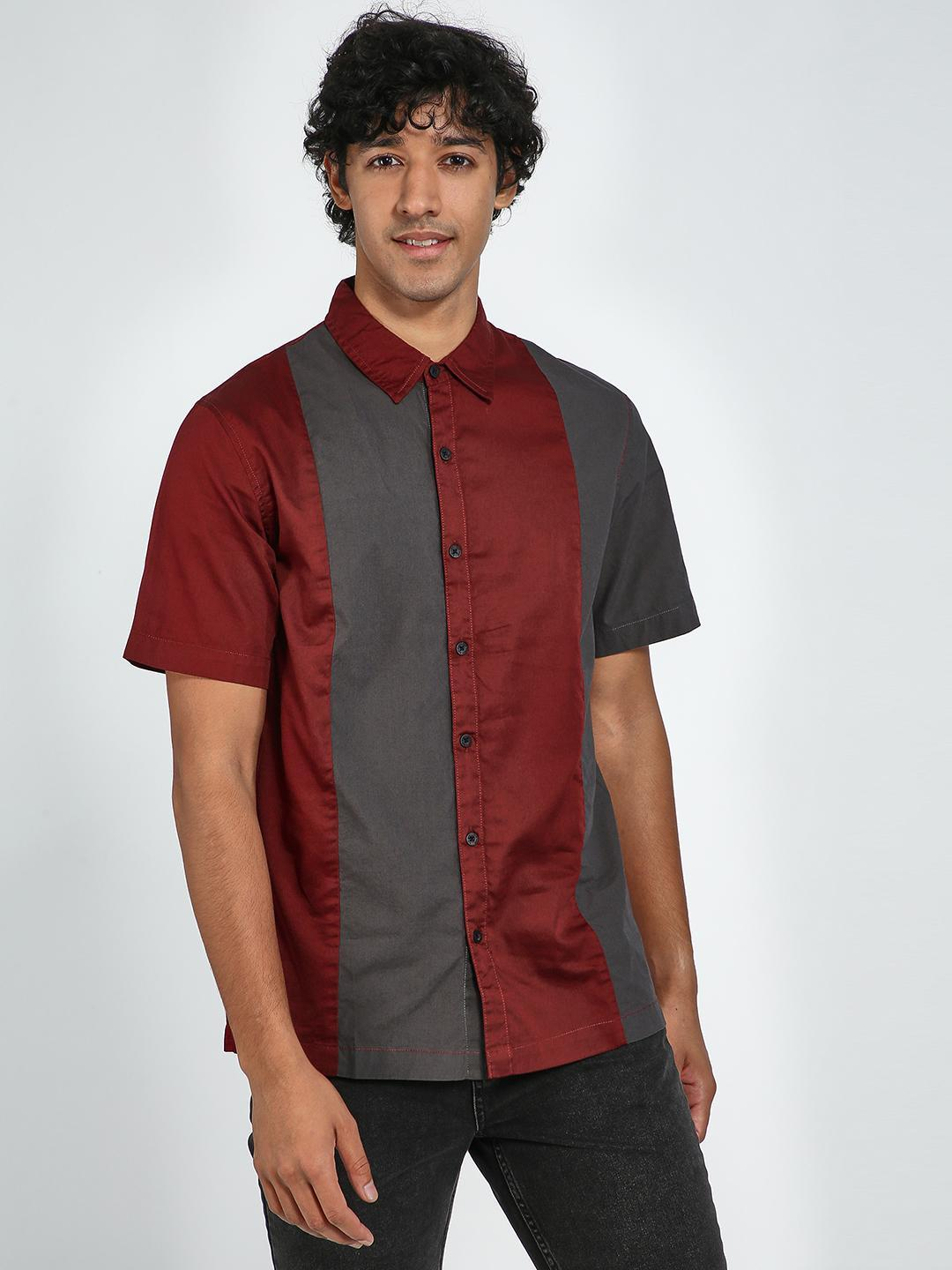 Blue Saint Grey/Red Colour Block Casual Shirt 1