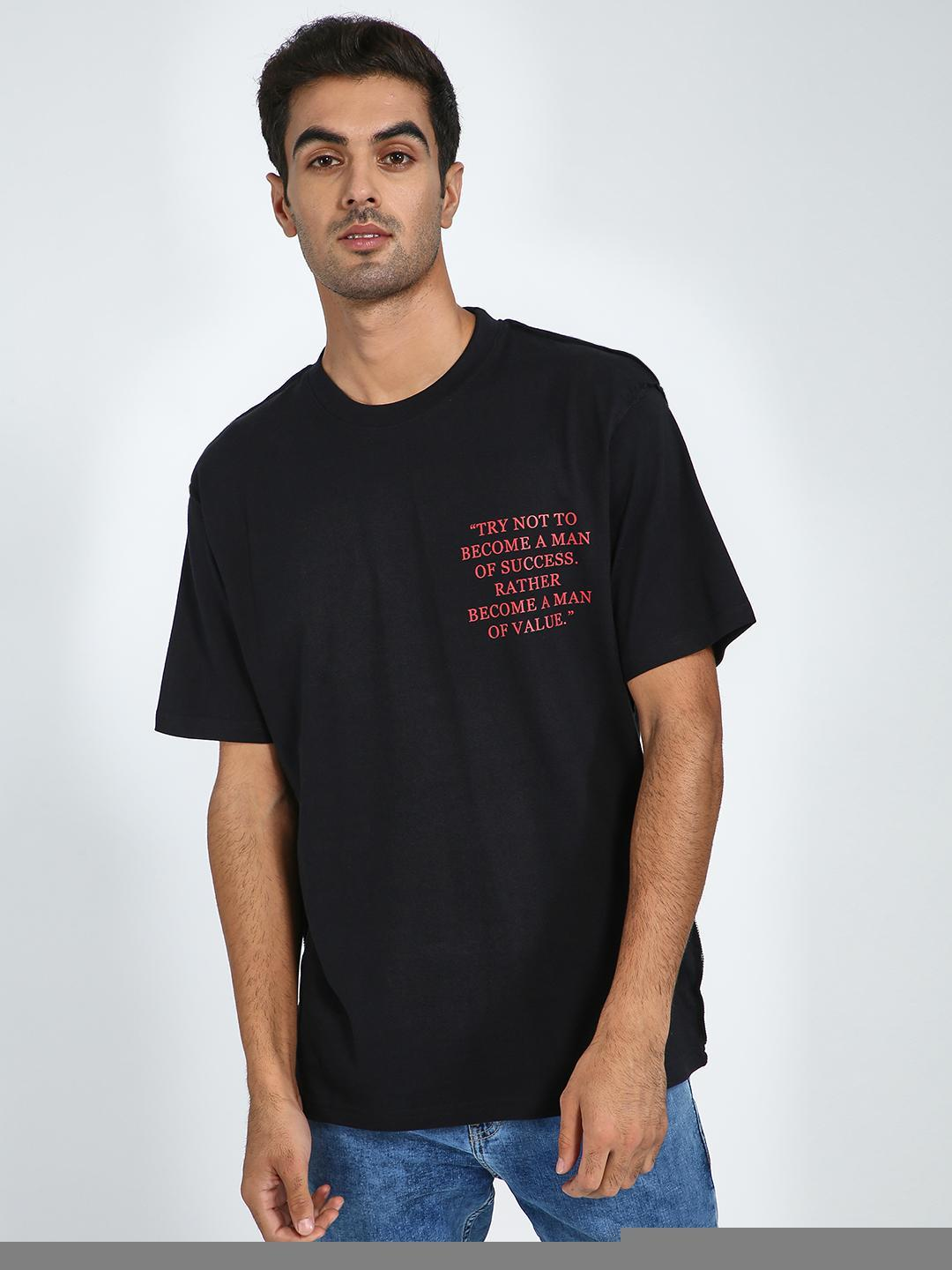 Blue Saint Black Slogan Placement Print Oversized T-Shirt 1