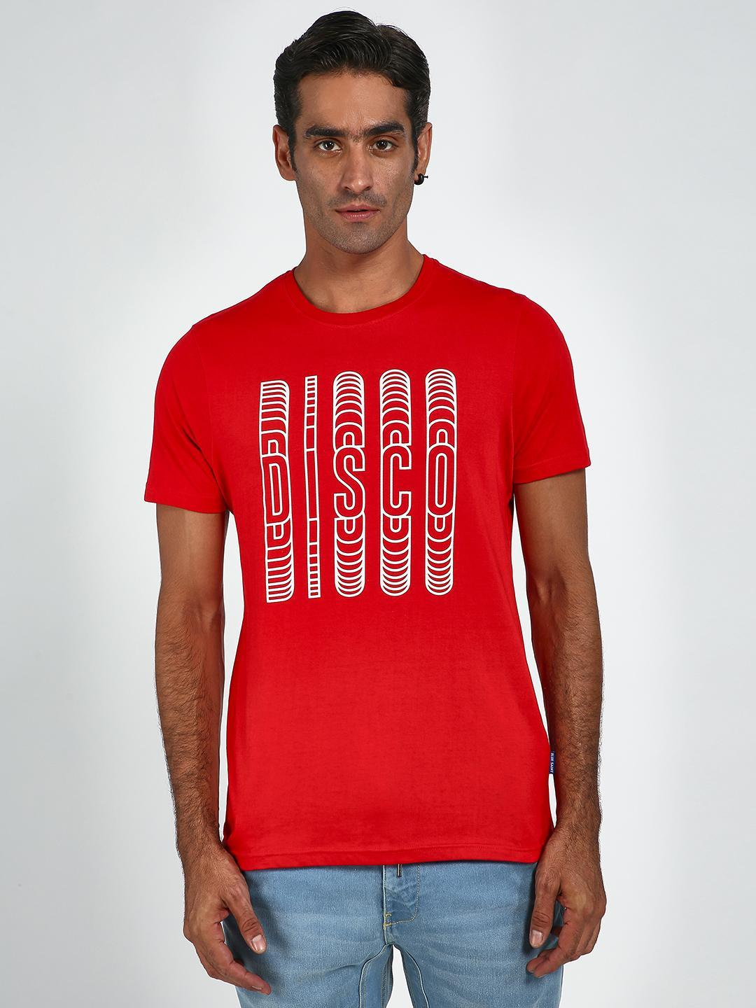 Blue Saint Red Disco Text Crew Neck T-Shirt 1